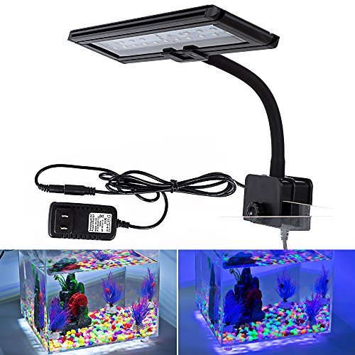 Hygger LED Aquarium Lights, Clip on Fish Tank Lighting Led Lamp for Fish Tank, Blue & White (30 Leds, 13 watt) by Hygger