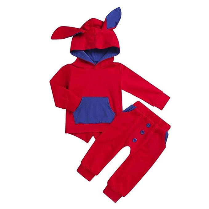 YanHoo Ropa de niños Sudadera Tops Pantalones Ropa Conjuntos Orejas de Conejito de Dibujos Animados para niños con Capucha, Top + Pantalones Traje de Dos ...