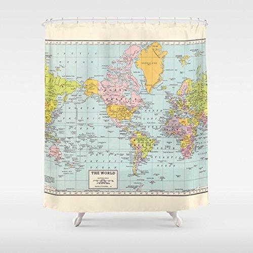 Amazon world map shower curtain handmade world map shower curtain gumiabroncs Gallery