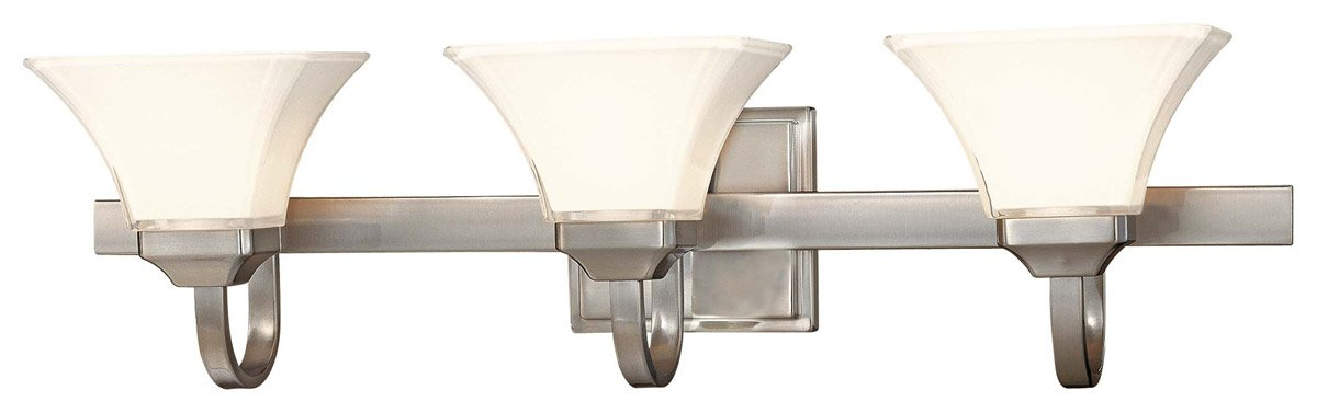 Minka Lavery Agilis 6813-84 Glass Reversible 3-LT 300w (8''H x 32''W) Vanity Lighting in Nickel by Minka