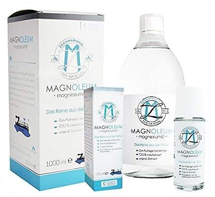 magnesiumöl ZECH piedra magnoleum Juego 75 ml rodillo de masaje + 1000 ml Botella de cristal