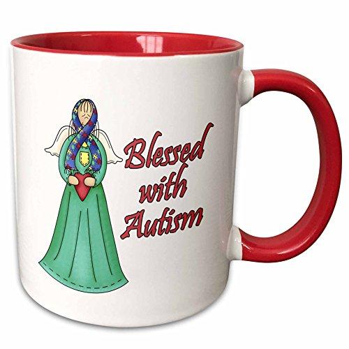 - 3dRose Dooni Designs Cause Awareness Ribbon Designs - Blessed With Autism Awarness Angel Ribbon Cause Design - 15oz Two-Tone Red Mug (mug_113538_10)