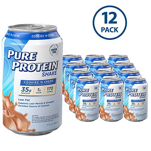 Pure Protein Ready to Drink Shakes, High Protein Cookies N' Cream, 11oz, 12 count (Pure Protein Whey Protein Powder For Weight Loss)