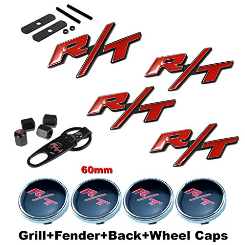BENZEE 11pcs Set AM122 RT R/T Front Grille + Fender + Back Car Emblem Badge Sticker + Wheel Hub Caps + Tire Valve Caps For Dodge Charger Ram 1500 Challenger Jeep Grand Cherokee