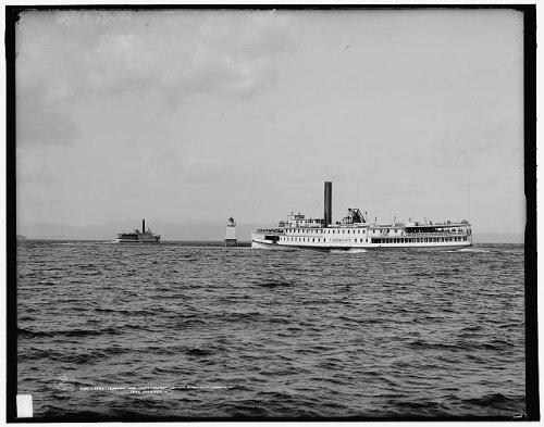 Infinite Photographs Photo: Steamer Vermont, Ticonderoga Leaving Burlington Harbor, VT, Lake Champlain, c1907 Size: 8x1 (Stores In Vt Burlington)