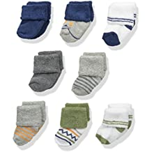 Luvable Friends Baby Boys' 8 Pack Newborn Socks