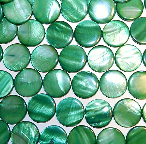 Green 30mm Flat Round Coin Mother of Pearl Gemstone Shell Beads 16 (Coin Puffed Beads)