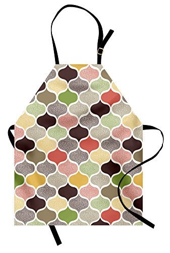 Ambesonne Modern Apron, Seamless Oriental Geometric Morrocan Doodle Pattern with Dots and Blank Colors Art, Unisex Kitchen Bib Apron with Adjustable Neck for Cooking Baking Gardening, Multicolor
