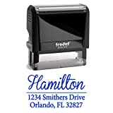 Blue Ink, Custom Self Inking Return Address Stamp Personalized with Elegant Fonts. Great Use for for Business, Real Estate Clients, Teachers and Family, Newlyweds or for Wedding Invitations