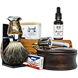 Ultimate Shaving Kit Set with Organic Shaving Soap, Aftershave oil, Wood Shaving Bowl, 100% Pure Black Badger Shaving Brush and Double Edge Safety Razor with 10 Blades. Best fathers day gift!