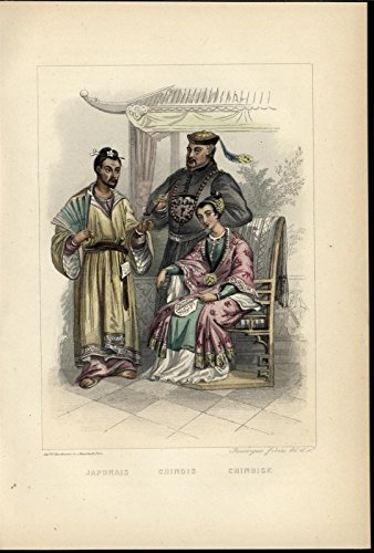 Japanese Chinese Robes Pipe Fan 1858 lovely antique hand color Nationality print