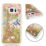 COZY HUT Samsung Galaxy S7 EDGE Case, 3D Glitter Liquid Moving Cute Luxury Personalised Clear Silicone Gel TPU Shockproof Phone Cover for Samsung Galaxy S7 EDGE - Golden paris tower