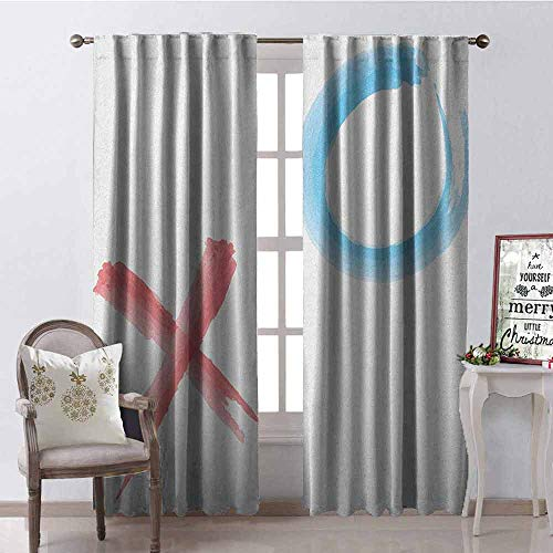 GloriaJohnson Xo Wear-Resistant Color Curtain Hugs and Kisses Icons with Paintbrush Soft Pastel Watercolor Style Artwork Waterproof Fabric W52 x L54 Inch Coral Pale Blue White