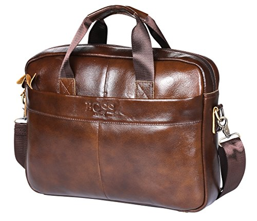 ARON BOSS 14 inch Laptop Briefcase Handmade Leather Shoulder Business Bag for Under 15 inch Computer Notebook (Deep Brown-BCP) (Men Bags Boss)