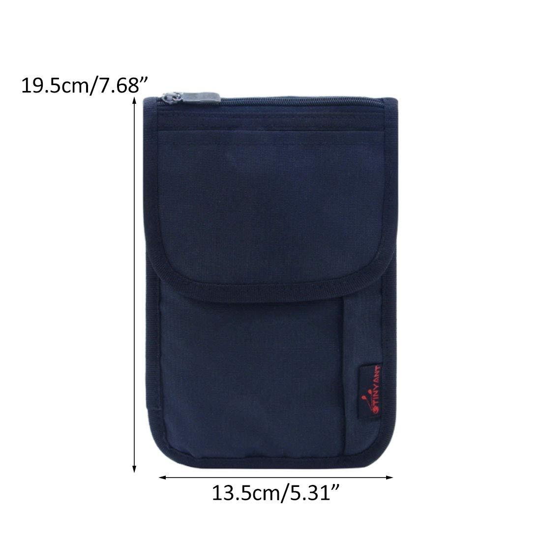 Bverionant Passport Organizer Shoulder Strap with Zipper Document Bag Holder Wallet for Travel Pink