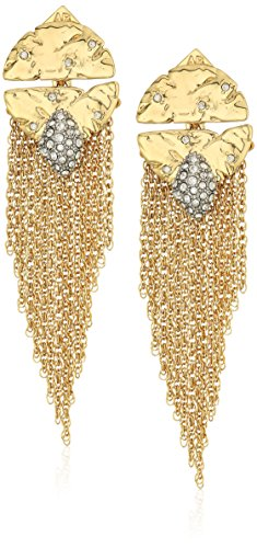 Alexis Bittar Fall 2017 Rocky Medallion Post With Chain Fringe Drop Earrings