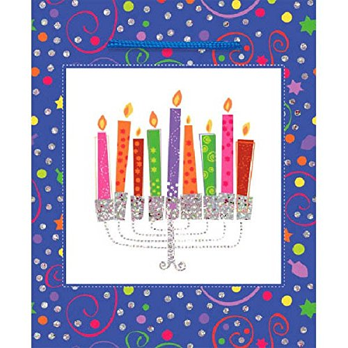 "amscan Joyous Hanukkah Festival Playful Menorah Medium Glitter Bag , Blue, Paper, 9 1/2"" X 8"" X 4 1/2"", Pack of 1 Party Supplies"