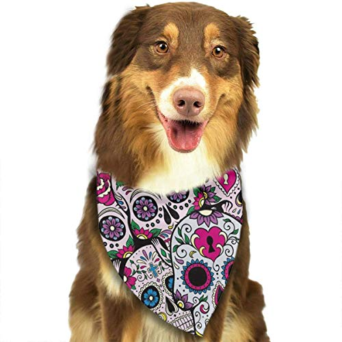 Sugar Skull Pattern Dog Bandana - Small Medium and Large Bandanas for Every Occasion Or Holiday - Easy to Tie On Your Cats Or Dogs Or Puppy - Comfortable and Stylish Pet Accessories ()