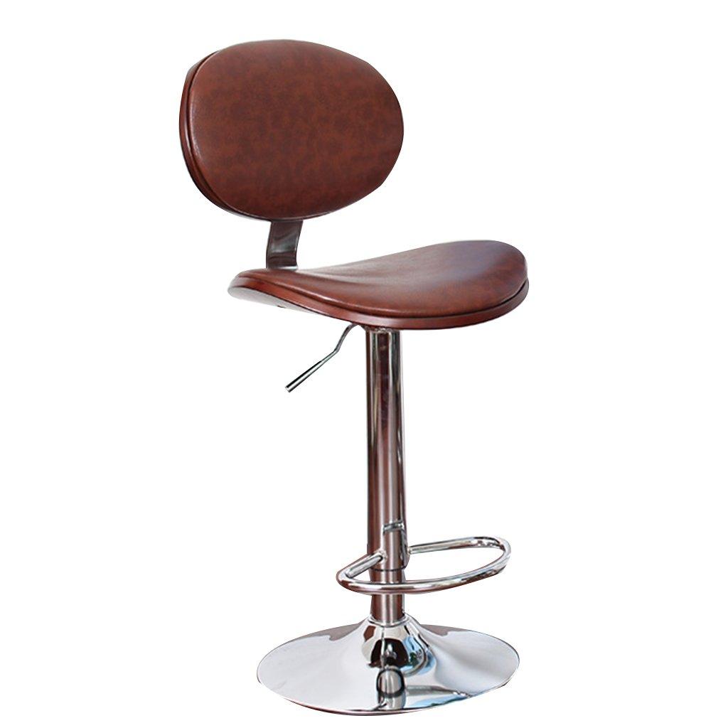 豪華なバーの椅子ブラウンのバーのスツールブラウンの椅子フロントデスクの椅子背もたれとソフトパディドシート付きのハイスツール B07DPP19BW