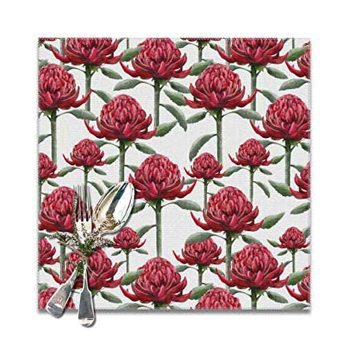 Scarlett Life Hall Red Art Imperial FlowersDecorative Polyester Placemats Set of 6 Printed Square Plate Cushion Kitchen Table Heat-Resistant Washable Dining Room Family Children