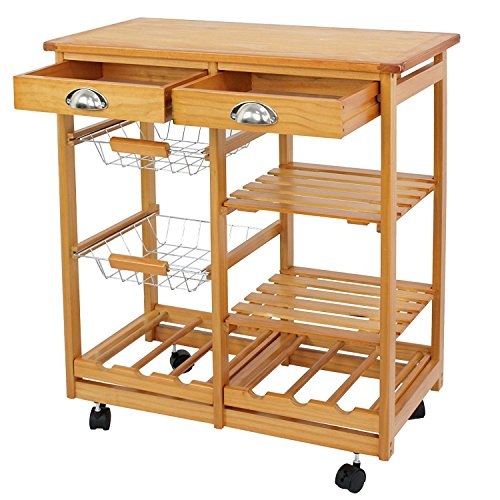 SUPER DEAL Multi-Purpose Wood Rolling Kitchen Island Trolley w Drawer Shelves Basket
