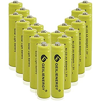 iMah HR6 AA Rechargeable Batteries for Solar Lights 600mAh 1.2V Ni-MH Battery for Outdoor Pathway Garden Lamps Pack of 8
