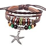 Winter's Secret Multi Strand Alloy Starfish Pendant Silver Tone Tube Wood Beads Brown Leather Bracelet
