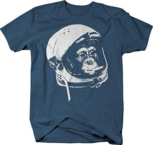Astronaut Monkey in Space Smoking A Cigarette Comic Space Nerd Tshirt Men 2XL Denim Blue