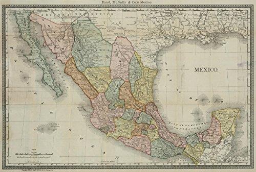 Pocket Map   1881 Mexico   Historic Antique Vintage Map (Mexico Antique)