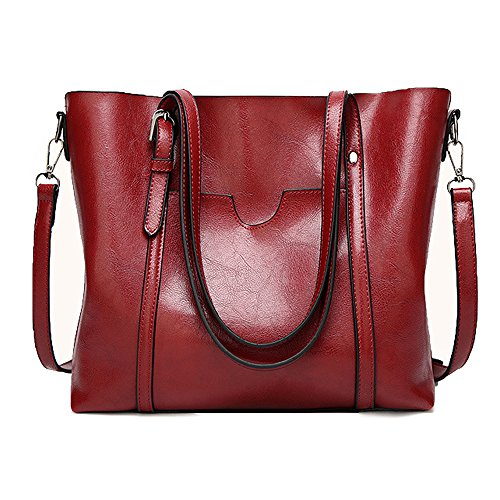 - JaneRa Women's Leather Top Handle Handbag Satchel Daily Work Tote Shoulder Bag Large Capacity (Burgundy)