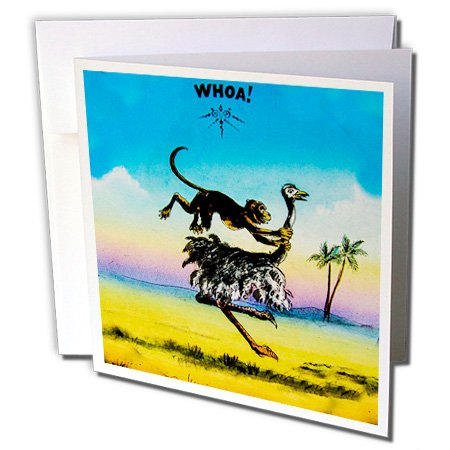 3dRose Scenes from the Past Magic Lantern - Vintage Monkey Riding Ostrich Whoa African Desert 1890 Strange Horse - 12 Greeting Cards with envelopes (gc_245964_2) ()