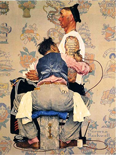 Tattoo Artist : Norman Rockwell : Circa 1944 Art Print Suitable for Framing
