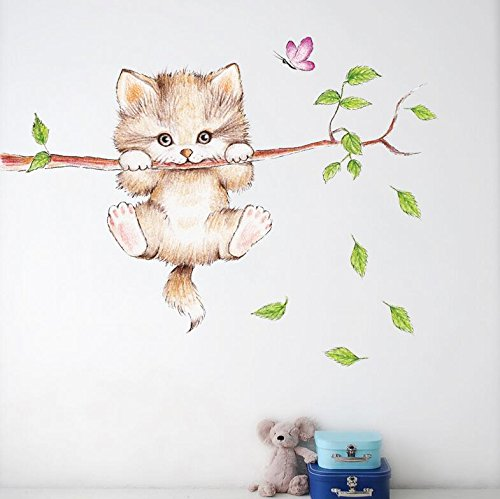 BeauBo Cartoon Cute Cat On The Tree Branches Wall Decals Removable Kitty Wall Stickers Decor Girls Bedroom Decal Kids Nursery Sticker Bathroom Wall Art Decoration Kitty Decals Cats Wall Sticker