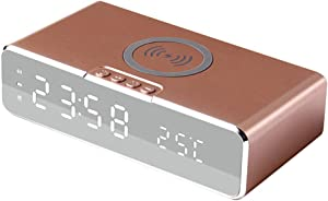 BOKIE Smart Alarm Clock with Time/Temperature Display& Charging Pad Dock for iOS&Android,for Bedroom,Home&Office