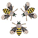 RINHOO FRIENDSHIP 3 Pcs Cute Honeybee Animal Insect Brooches Pin Colorful Crystal Rhinestones Bee Shape Corsages Scarf Clips Jewelry for Women Girls (3PCS Honeybee-Black)