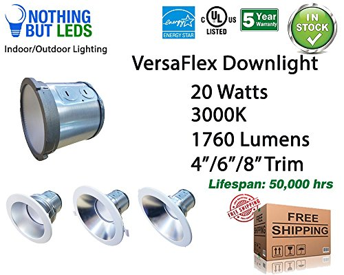 6 inch Versaflex LED Downlight w/Optional Backup Battery and a Retrofit kit, 20W - 30E, 1760lm, 3000K, Certificate: UL/cUL, Energy Star, LM79, Non dimmable, 5 Years Warranty