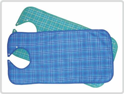 Lätzchen für Erwachsene Ess-Schürze, waschbar, Farben blau, grün (blau kariert)