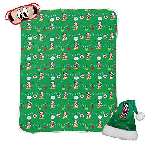 - Jay Franco Disney Mickey Mouse 3 Piece Holiday Set - Kids Christmas Bedding, Super Soft Sherpa Throw Blanket & Eye Mask with Bonus Santa Hat (Official Disney Product)
