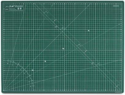La Canilla ® - Selbstheilende Schneidematte A2 (60x45cm) Zentimeter und Zoll (beidseitig Bedruckt) 5 Schichten Recycling-PVC für Nähen, Basteln und Patchworken - Professionell Cutting Mat (Grün)