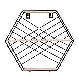 HMANE 3-Tier Wall Storage Rack,Decorative Hanging Hexagon Shelf Organizer for Kitchen,Bathroom,Office - Black