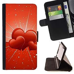 - Three hearts - - Monedero PU titular de la tarjeta de cr????dito de cuero cubierta de la caja de la bolsa FOR HTC One M7 RetroCandy