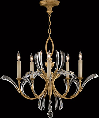 Fine Art Lamps 763040, Beveled Arcs Crystal 1 Tier Chandelier Lighting, 5 Light, 300 Watts, Gold ()
