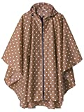 Rain Poncho Jacket Coat for Adults Hooded Waterproof with Zipper Outdoor (Point Coffee) Larger Image