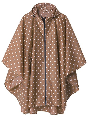 Rain Poncho Jacket Coat for Adults Hooded Waterproof with Zipper Outdoor (Point Coffee)