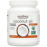 Nutiva Organic, Neutral Tasting, Steam Refined Coconut Oil from non-GMO, Sustainably Farmed Coconuts, 54-ounce