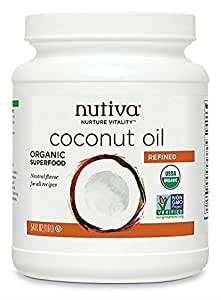 Nutiva Organic, Neutral Tasting, Steam Refined Coconut Oil from non-GMO, Sustainably Farmed Coconuts, 54 Fluid Ounces