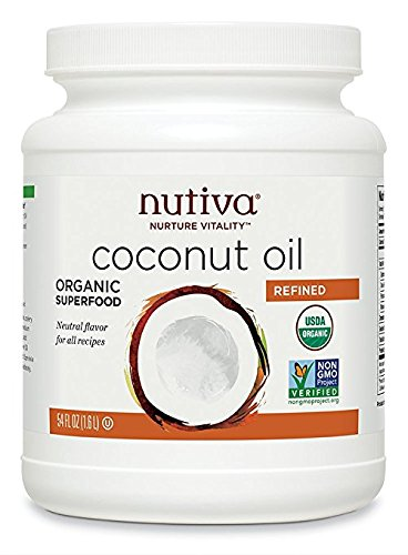 Nutiva Organic, Neutral Tasting, Steam Refined Coconut Oil from non-GMO, Sustainably Farmed Coconuts, 54 Fluid Ounce,Pack of 1 (Nutiva Organic Unrefined Extra Virgin Coconut Oil)