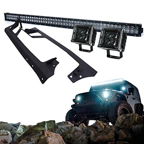 Xprite Super Nova 5D 288W 50 Inch LED Work Light Bar, 20W 3 Inch Spot Light & Windshield Mounting Bracket Kit For 2007 - 2017 Jeep Wrangler (Combo Brackets Kit)