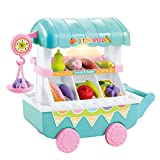Education Toys Piebo Plastic Fruit Cart with Play Food fruit Vegetables Grocery Accessories Toys Play House Musical Light Funny Outdoor Children Cart Shop Toy (Blue)