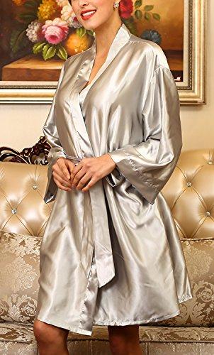 Dolamen Unisex Mujer Hombre Vestido Kimono Satén, Camisón para mujer, Lujoso Robe Albornoz Dama de honor Ropa de dormir Pijama, Busto 132 cm, 51,97inch, de gran tamaño para todos Plata